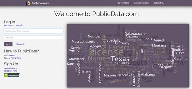 PublicData printscreen homepage