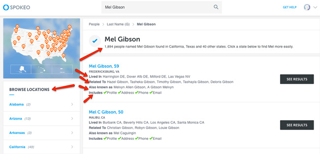 Spokeo example search mel gibson